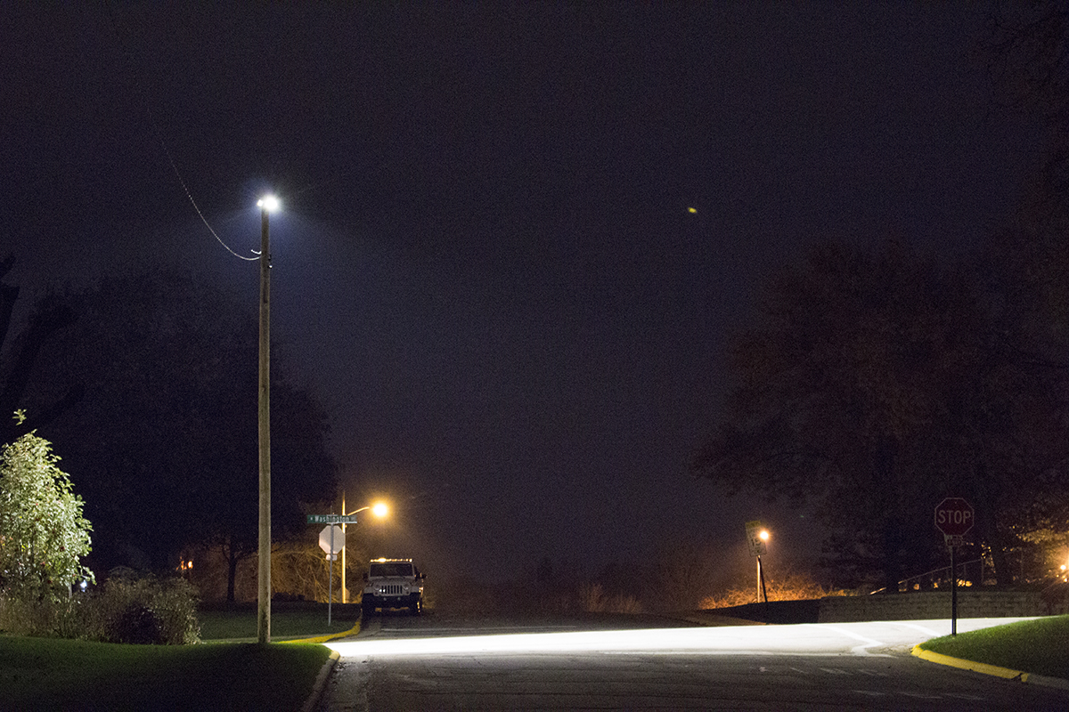 The White Light Led Streetlight Is Located At Ne Corner Of W Washington St N Johnson In Dodgeville Illumination Level On Ground Peaks