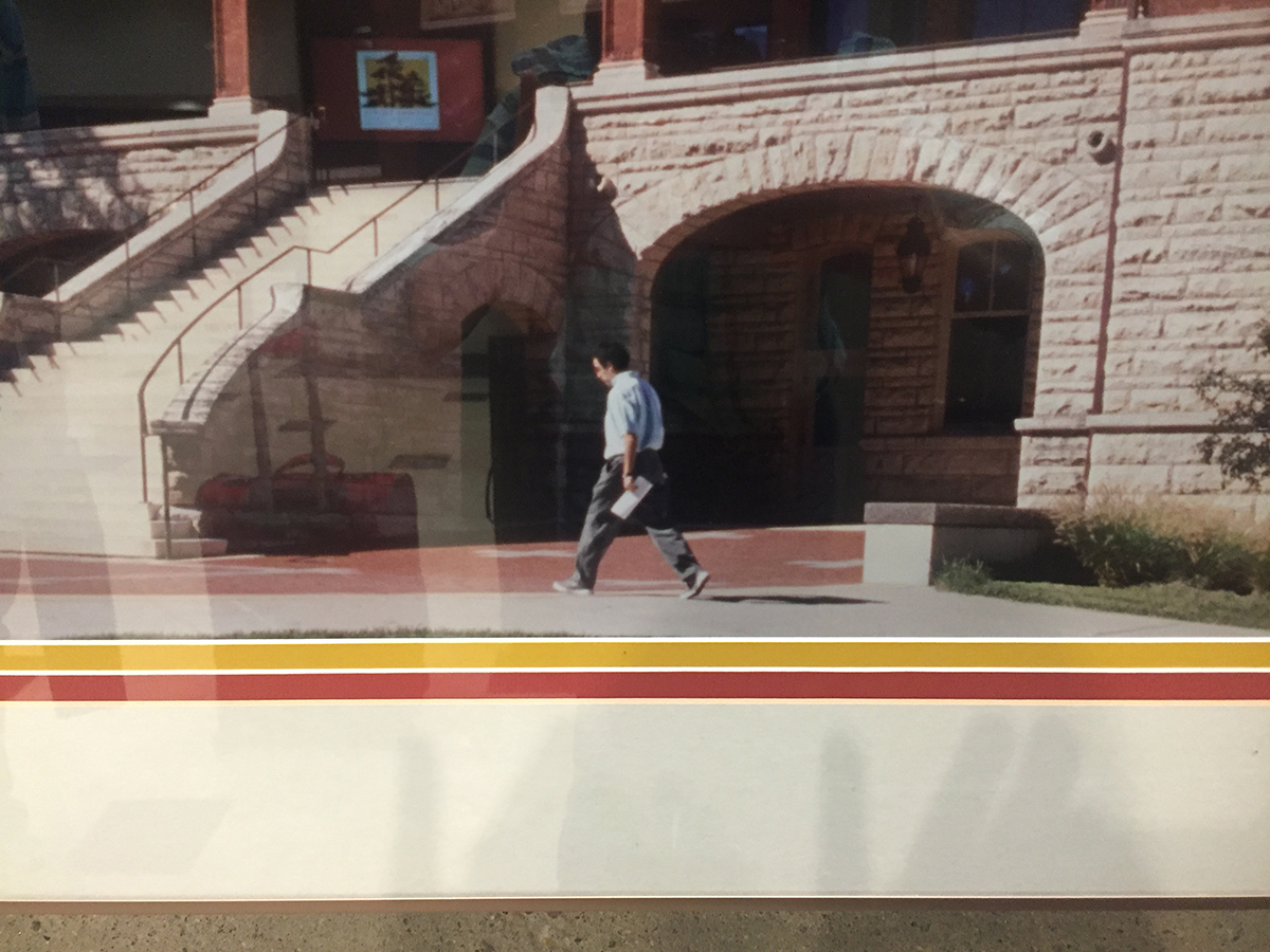 David Oesper in front of Catt Hall at ISU - Photo in lobby at Gateway Hotel in Ames, Iowa 8/18/2017
